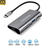 USB C to HDMI Adapter, CZHOON USB Type C Hub with USB 3.0 Port SD&TF Card Reader 4K HDMI and Type C Charging Port for MacBook Pro Chromebook Nintendo Switch and Windows Type C Laptop-Gray