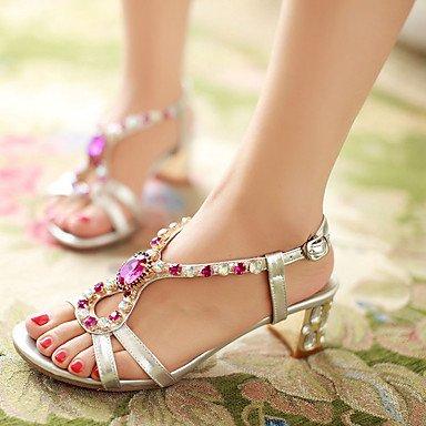 LvYuan Tacón Robusto-Zapatos del club-Sandalias-Fiesta y Noche Vestido Informal-PU-Plata Oro Gold