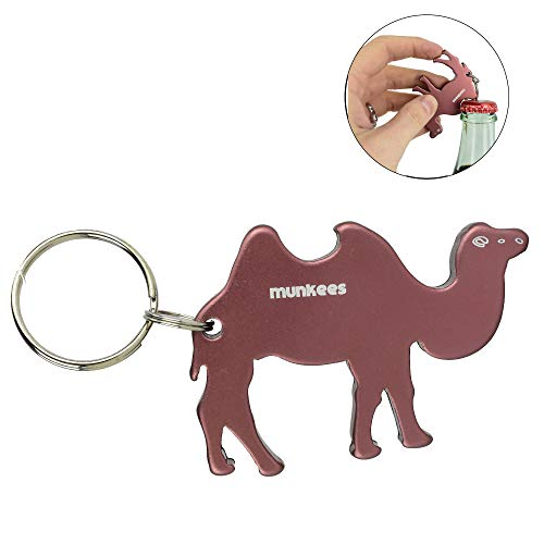 AceCamp Munkees Land Animal Bottle Opener Keychains, Mini Key Rings, Small Pocket-Sized Key Chains for Wine, Caps, Beer, Can & Bottlecaps - Camel, Desert Animal