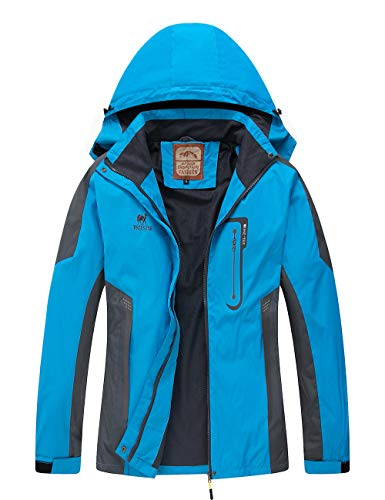 Diamond Candy Waterproof Rain Jacket Women Lightweight Outdoor Raincoat Hooded for Hiking Blue M