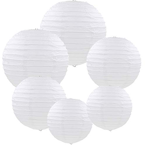 E-MANIS White Paper Round Lanterns for Birthday Wedding Party Decorations Crafts (1-Pack of 6) (White) -