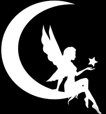 5 X 5.5 in|KCD639 Keen Commodities White Decal Keen Fairy Moon Silhouette Vinyl Decal Sticker|Car Truck Wall Computer Laptop Phone