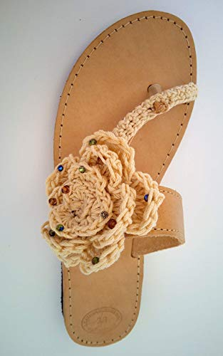 Crochet Flower Sandals Crystal Jeweled Handmade Genuine Leather Beach Flats ()