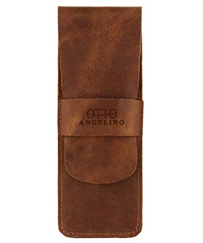 Otto Angelino Leather Pen Case with Sleeve Cover, Pencil Pouch Stationery Bag (Brown)