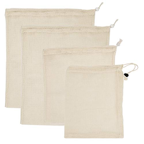 Reusable Produce Bags Natural Cotton Mesh is Biodegradable Lightweight Washable Durable Bags Set of 4 with 3 Different Sizes for Vegetable Grocery Shopping Bags