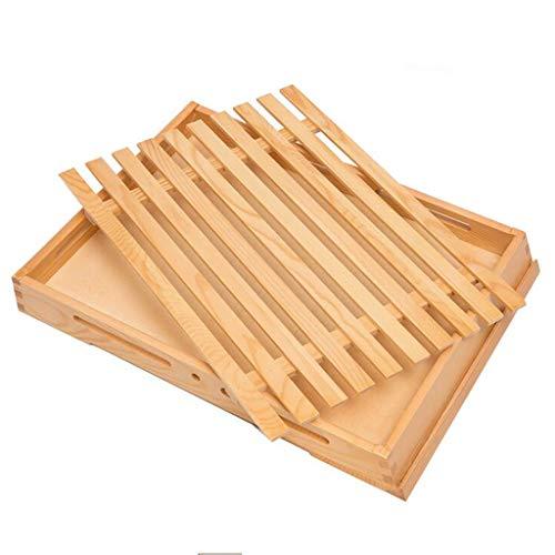 Zzaini Bambú Ranurado Tabla de Cortar, Moldes para Hornear Pan con recogedor de Migas de Pan Bandeja para Servir para tableros de la Barra de Pan Queso ...
