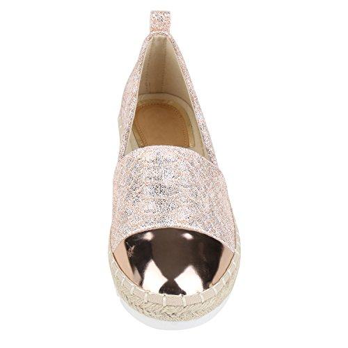 ... napoli-fashion Damen Espadrilles Bast Glitzer Slippers Blumen Prints  Flats Strass Metallic Schuhe Stoffschuhe Nieten e60ed8cfe2