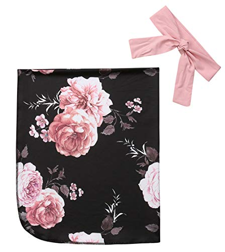 Baby Girl Floral Receive Blankets Headband Set Newborn Swaddle Receiving Blankets (0-3 Months, Floral) ()