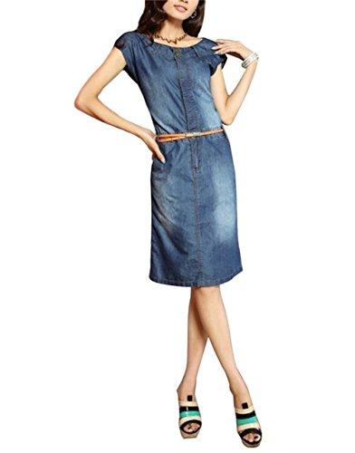 Women's Neck Sleeveless Jean Tunics Knee Lengh Dress With Belt (XL)