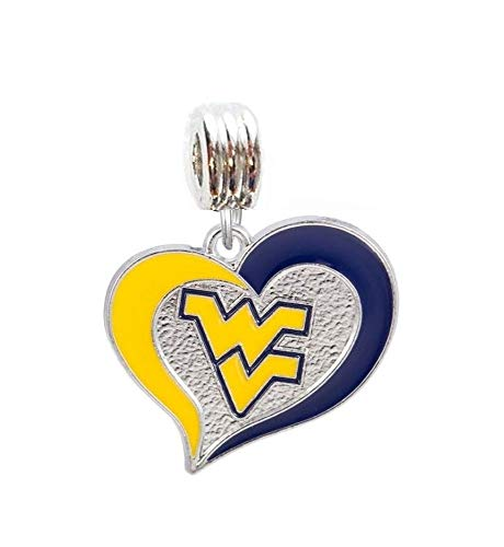 Heavens Jewelry WVU WEST Virginia University Mountaineers Team Heart Charm Slider Pendant for Your Necklace European Charm Bracelet (Fits Most Name Brands) DIY Projects -