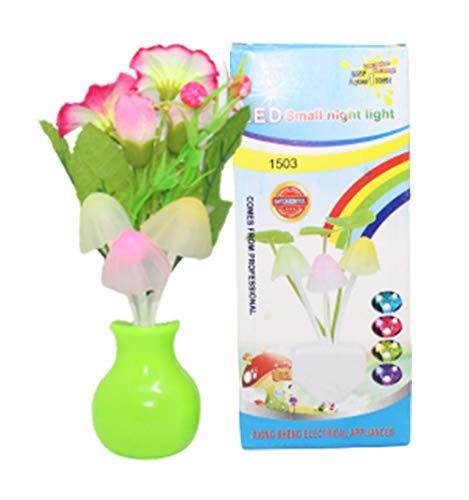 LED Changing & ON/Off Sensor Mushroom Light Shape LED Night lamp with Multicolor Light Illuminated and Flowers