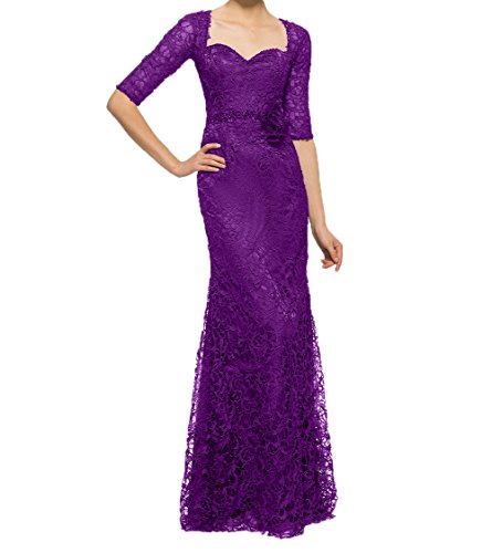 Langarm Langes Lila Partykleider mit Abendkleider Ballkleider Spitze Brautmutterkleider Charmant Damen Festlichkleider Uwv4x7