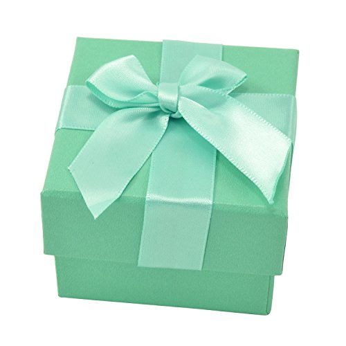 Paialco Jewelry Package Paper Gift Box Green Ribbon Bow-knot 2 1/6-Inch by 2 (Smith Turquoise Earrings)