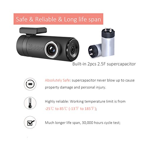 DDPai mini2P With Distortionless Lens Wi-Fi Dash Cam 1440P 2K Car Camera With Built-in Supercapacitor, G-sensor, Snapshot Button, WDR, Loop Recording, Parking Monitor By 1FPS by ddpai (Image #3)