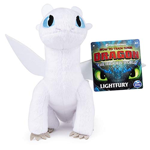 (Dreamworks Dragons, Lightfury 8-inch Premium Plush Dragon, for Kids Aged 4 and Up)