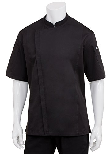 Chef Works Men's Springfield Chef Coat, Black, Large by Chef Works