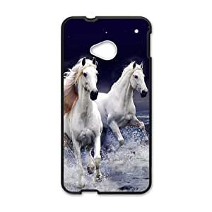 HTC One M7 Case,Running White Horses With Splashed Water High Definition Wonderful Design Cover With Hign Quality Rubber Plastic Protection Case