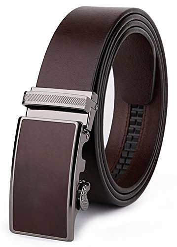 LEO.Y Fashion Genuine Cow Leather Belts for Men with Removable Slide Ratchet Buckle (Up to 45