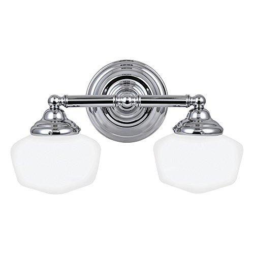 Sea Gull Lighting 44437-05 Academy Two-Light Bath or Wall Light Fixture with Satin White Glass, Chrome Finish (Chrome 10' Accent Light)