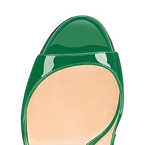 Heels Pumps Stiletto Chaussures Vert Rouge Talon Aiguille Soles Escarpins uBeauty Peep Toe Big Sandales High Femmes Size wxZtq7