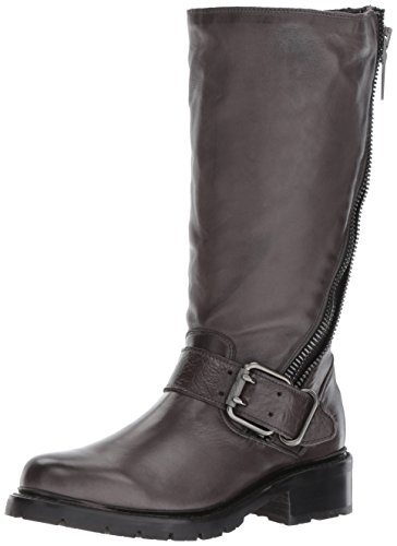 FRYE Women's Samantha Zip Tall Motorcycle Boot, Charcoal Polished Soft Full Grain, 8.5 M US