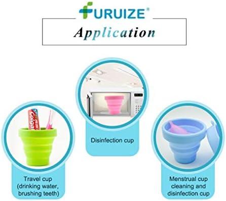 Taza de Esterilización Plegable Furuize. Esterilizador de Copas Menstruales. Silicona de Grado Médico 100%. Color Verde (VERDE)