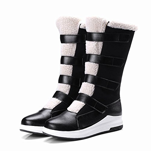 Carolbar Womens Faux Fur Hook-And-Loop Winter Comfort Snow Boots Black 1Slgk