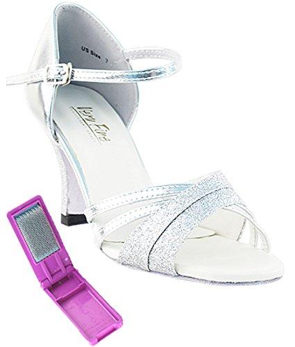 Very Fine Ballroom Latin Tango Salsa Dance Shoes for Women 6030 2.5 Heel + Foldable Shoe Brush Bundle Silver Stardust-silver 31TeqksXA