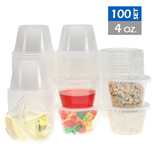 Freshware Plastic Disposable Portion Cups with Lids, 4-Ounce, [100 Sets] - Souffle Cups, Sampling Cups, Sauce Cups, Slime Cups, Jello Shot Cups