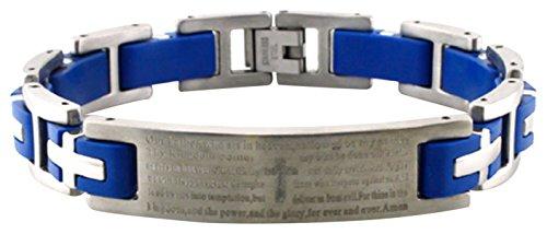 Tioneer Stainless Steel Lord's Prayer Biker Blue Rubber Inlay Link Bracelet