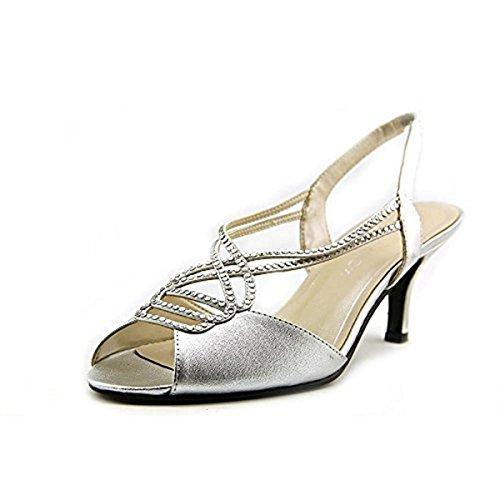 Caparros Womens Philomena Open Toe Bridal Slingback, Silver Metallic, Size 9.0