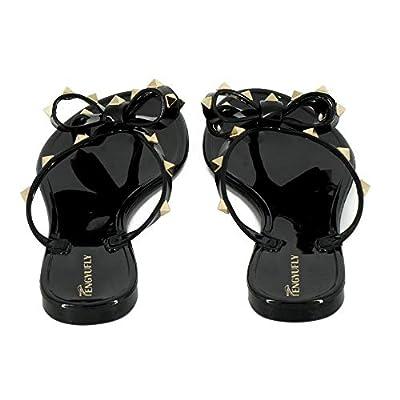 Tengyufly Womens Rivets Bowtie Flip Flops Jelly Thong Sandal Rubber Flat Summ.