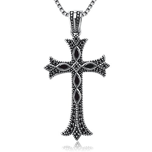 Sterling Silver 925 Natural Onyx Bible Lord's Prayer Cross Pendant Christian Jewelry (Black Onyx Sterling Silver Slide)