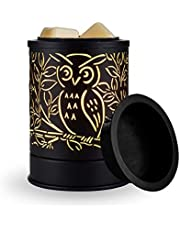 SHENGQINGTOP Metal Wax Melt Warmer Plug-in Scented Candle Warmer Electric Fragrance Oil Heater Lamp for Spa Yoga Meditation Home Office Gift Decor, Owl, Black