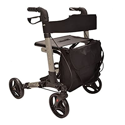 X Cruise Folding lightweight compact walker rolling walking frame with seat - silver