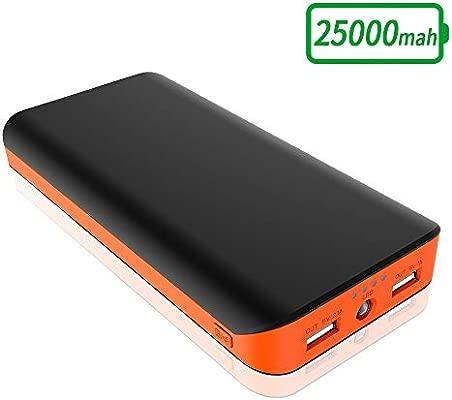 FKANT Batería Externa 25000mAh, Cargador Portátil Movil Alta Capacidad con 2 USB Puertos, Linterna LED de 4 Modos Power Bank para iPhone, Huawei, ...