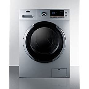 Summit SPWD2201SS 24' Washer/Dryer Combo with 2 cu. ft. Capacity Stainless Steel Drum 1200 RPM Delay Start Option 7 Wash Cycles and 3 Dry Cycles in