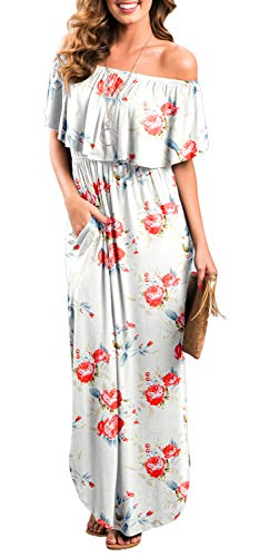 Womens Off The Shoulder Ruffle Party Dresses Side Split Beach Maxi Dress Flower02 L