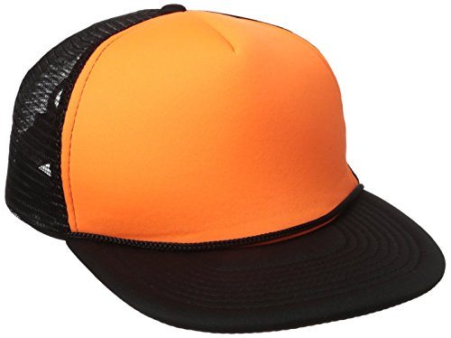 - DECKY Flat Bill Neon Trucker Cap, Black/Neon Orange