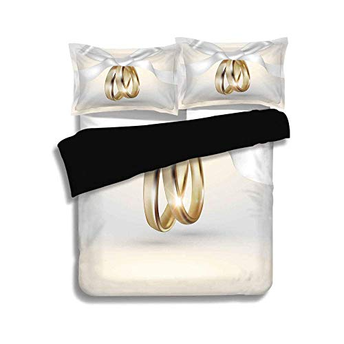 Cover Set Queen Size,Wedding,Golden Colored Wedding Rings with Ribbon Marriage Icon Realistic Celebration Photo,White Gold,3 Pcs Fashion Bedding Set ()