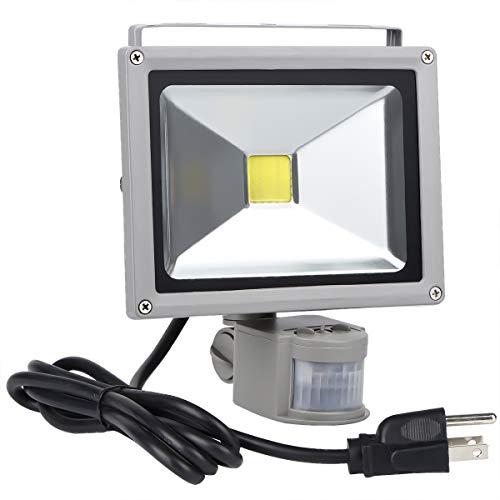 Motion Sensor Floodlight Outdoor, 20W Induction LED Lamp, IP65 Waterproof Spotlight, 6500K 1600LM LED Sensor Light,160W Bulb Equivalent Security Light with US 3-Plug Daylight White