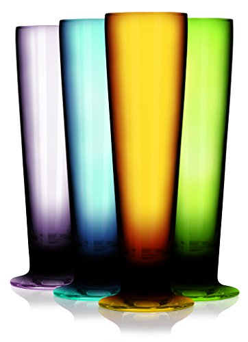 Catalina Tall Beer - Attractive Set of Four (4) Unique Colored Libbey Catalina Tall Beer Glass 14 oz. - Party Drinking Glassware Set