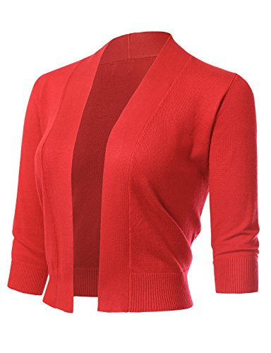 (ARC Studio Womens Classic 3/4 Sleeve Open Front Cropped Cardigans,Hot Coral,Small)