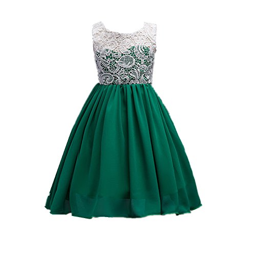 Azhido Lace Flower Embroidered Chiffon Dress Kids Girls Party Princess Pageant Gown (12, Dark Green)