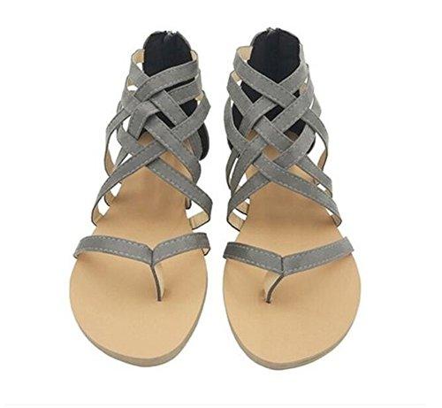 Gran QXH Sandalias de Mujeres de Sólido Grey Plana de Cabeza Color Hueca Tamaño Redonda HHwrdqC8