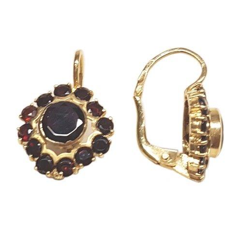 Clearance Boucles d'Oreilles Femme en Or 18 carats Jaune avec Grenat, 4.8 Grammes