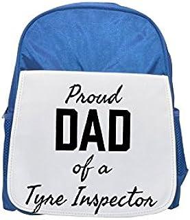 PROUD DAD OF A Tyre Inspector printed kid's blue backpack, Cute backpacks, cute small backpacks, cute black backpack, cool black backpack, fashion backpacks, large fashion backpacks, black fashion bac