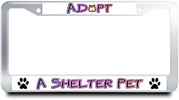 Jesspad Adopt A Shelter Pet Metal License Plate Frame Dog Paws License Plate Cover Cute Animal Auto Tag Holder Metal Car Tag Frame,12 X 6 Inches Jes-CframeBMW-NU035