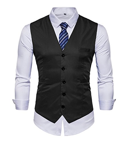 AOYOG Men's Business Suit Vests Waistcoat Slim Fit for Suit or Tuxedo, Black, Medium
