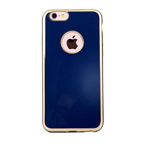 Phone Taschen & Schalen Für iPhone 6 Plus & 6s Plus Galvanotechnik Gold Edge Soft TPU Schutzhülle ( Color : Dark blue )